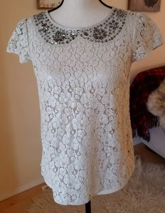 Gorgeous lace embellished sheer top